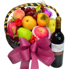 Mid-Autumn Festival Fruits Hamper with Red Wine